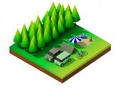 image of isometric  - Isometric forest camping - JPG