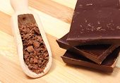 image of chocolate spoon  - Grated chocolate on wooden spoon and stack of dark chocolate chocolate pieces - JPG