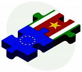 picture of suriname  - European Union and Suriname Flags in puzzle isolated on white background - JPG