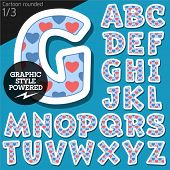 image of redneck  - Vector children alphabet set in redneck pink heart style - JPG
