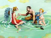 stock photo of floating  - An angel a cherub and a faun floating in a sky forming circles of water - JPG