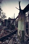 picture of abandoned house  - Remains of the old abandoned ruined house - JPG
