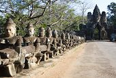 stock photo of rebuilt  - Gate of the largest city capital named Angkor Thom - JPG