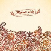 picture of mehndi  - Vector vintage background in Indian henna mehndi style - JPG