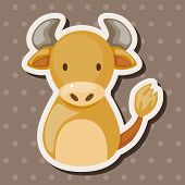 stock photo of oxen  - Chinese Zodiac Ox Theme Elements - JPG