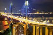 picture of hong kong bridge  - Ting Kau bridge at night - JPG