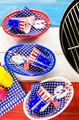 picture of barbie  - Table set with white blue and red decorations for July 4th barbecue - JPG