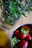 stock photo of oregano  - rosemary and oregano in a glass - JPG