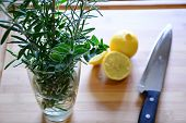 stock photo of oregano  - rosemary and oregano in a glass and sliced lemons on a wood cutting board with a knife  - JPG