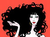 stock photo of black curly hair  - Beautiful woman with long curly hai vector illustration - JPG