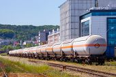 picture of fuel tanker  - The many of tanks with oil and fuel transport by rail - JPG