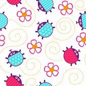 picture of ladybug  - Crawling pink ladybugs and flowers seamless vector pattern - JPG