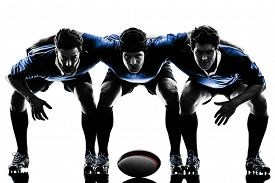 picture of studio  - one caucasian rugby men players  in studio  silhouette isolated on white background - JPG