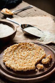 image of crispy rice  - Crispy rice with topping coconut sugar sauce - JPG