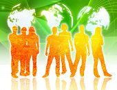 picture of person silhouette  - world map and people silhouettes - JPG