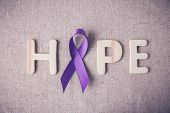 Purple Ribbon With Hope Wooden Letter, Toning, Alzheimers Disease, Pancreatic Cancer, Epilepsy Awar poster