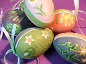 pic of ostara  - A pile of variouspaintedeggs for seasonal celebration - JPG