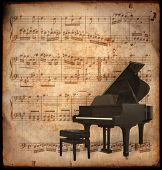 image of musical instrument string  - ancient music sheet rusted old yellow paper with piano - JPG