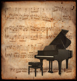 pic of musical instrument string  - ancient music sheet rusted old yellow paper with piano - JPG