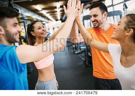 poster of Fitness, Sport, Training, Gym, Success And Lifestyle Concept - Group Of Happy People In The Gym Cele