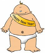 picture of new years baby  - This illustration depicts a baby with a banner across its chest - JPG