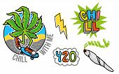 Good Young Set Icon With Leaf Of Marijuana Which Chill And To Ride A Skateboard, Jamb With Weed, Bub poster