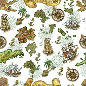 Seamless Background With Treasure Islands, Old Sailing Ships And Compass On White. Pirate Adventures poster