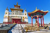 Buddhist Complex Golden Abode Of Buddha Shakyamuni In Spring. Elista. Kalmykia. Russia poster