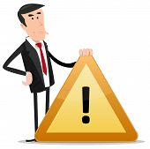 image of warning-signs  - Illustration of a cartoon businessman holding warning sign for error 404 or websites bug communication message - JPG