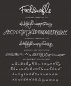 Handrawn Vector Alphabet. Letter For Script Font. Modern Calligraphy. Marker Painted Abc With Ligatu poster