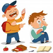 Bullying Vector Cartoon Illustration. Teen With Ice Cream Offends A Boy Who Cries. Demonstration Of  poster