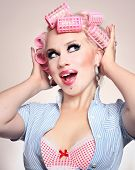 picture of hair curlers  - Cheerful girl - JPG