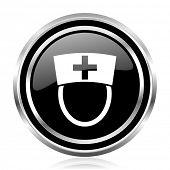 Nurse black silver metallic chrome border glossy round web icon poster