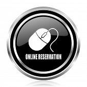 Online reservation black silver metallic chrome border glossy round web icon poster