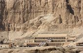 picture of mortuary  - sunny scenery including the Mortuary Temple of Hatshepsut in Egypt - JPG