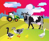Farm With Cow And Poultry Vector Illustration. Rural Landscape With A Dairy Farm. Farm Animals Backg poster