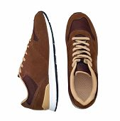 Pair Of New Modern Brown Sneakers Isolated On White Background With Clipping Path. Men Shoes. Top Vi poster