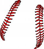 picture of stitches  - Softball Laces or Baseball Laces Vector Illustration - JPG