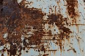 Metal Background With Rust. Rust Stains. Corroded Spots On The Metal Surface.old Rusty Painted Metal poster