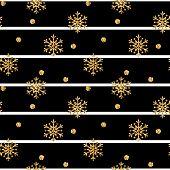 Christmas Gold Snowflake Seamless Pattern. Golden Glitter Snowflakes On Black White Lines Background poster