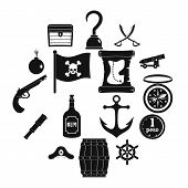 Pirate Icons Set. Simple Illustration Of 16 Pirate Vector Icons For Web poster
