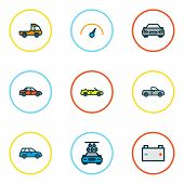 Automobile Icons Colored Line Set With Car, Speedometer, Battery And Other Auto  Elements. Isolated  poster
