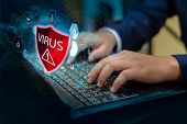 Press Enter Button On The Keyboard Computer Protective Shield Virus Red Exclamation Warning Caution  poster