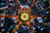 Aerial View Of Roundabout Or Circle Of Road With Light Trails On The Road At Night In Bangkok,thaila poster