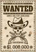 Wanted Vintage Western Poster Template With Cowboy Skull In Hat, Crossed Guns, Bullet Holes Vector I poster