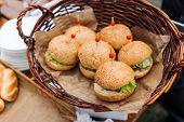 Freshly Baked Buns. Hot, Fresh From The Oven Hamburger Buns. Homemade Brioche Hamburger Buns. poster