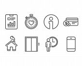 Set Of Waiting, Report Document And Lift Icons. Payment Method, Heartbeat Timer And Smartphone Signs poster