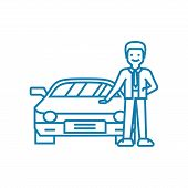 Going In For Motoring Line Icon, Vector Illustration. Going In For Motoring Linear Concept Sign. poster