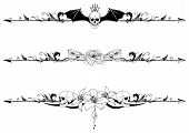 stock photo of cranium  - vector set of gothic borders with craniums and flowers - JPG