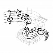 Musical Staff Or Music Stave Notes And Clef For Musical Concept Design. Vector Poster Or Icon Of Mus poster